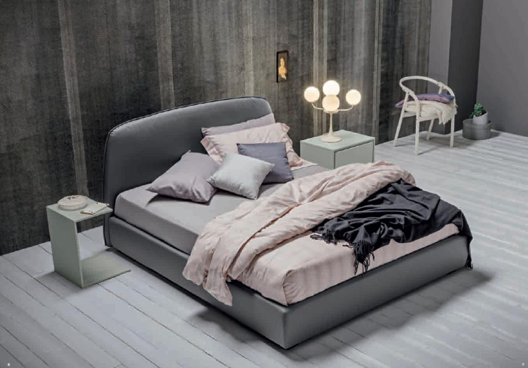 Bed Sharon with box in eco leather Grigio Antracite