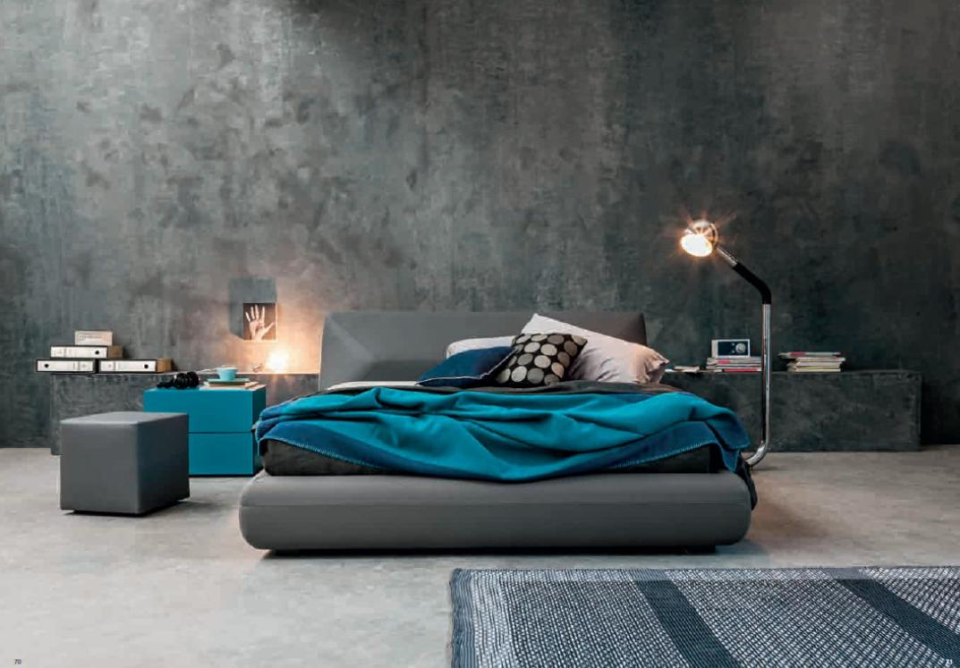 Bed Felix with box in eco leather grigio antracite
