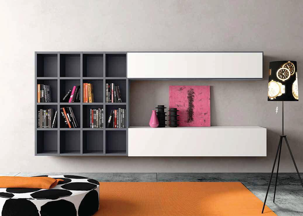 Wall hanging bookcase doors flap lacquered anthracite and White Chalk