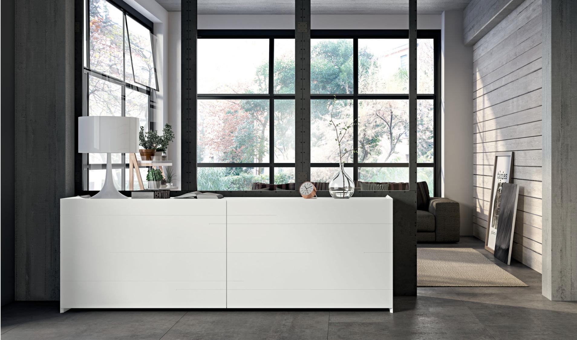 Credenza Moderna Outlet : Madia moderna bianco opaco e wengè questa modulare
