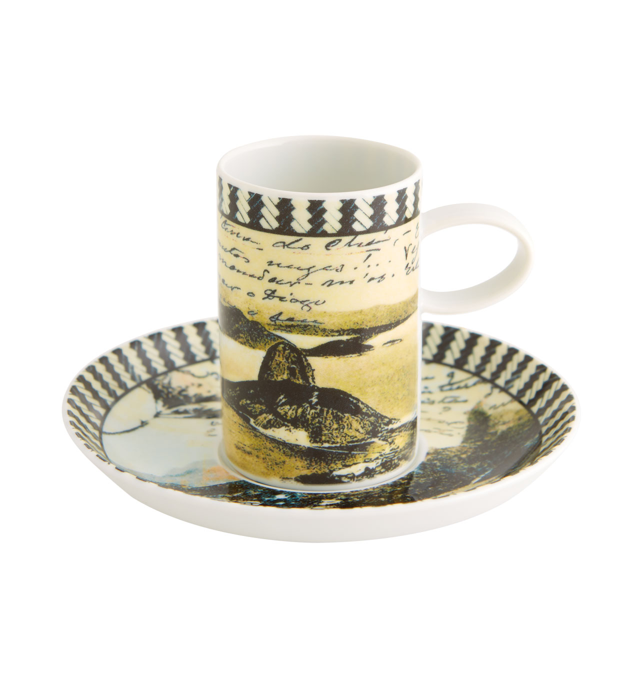 Vista Alegre Collection Olhar o Brasil Set 2 Coffee Cups and Saucers Rio