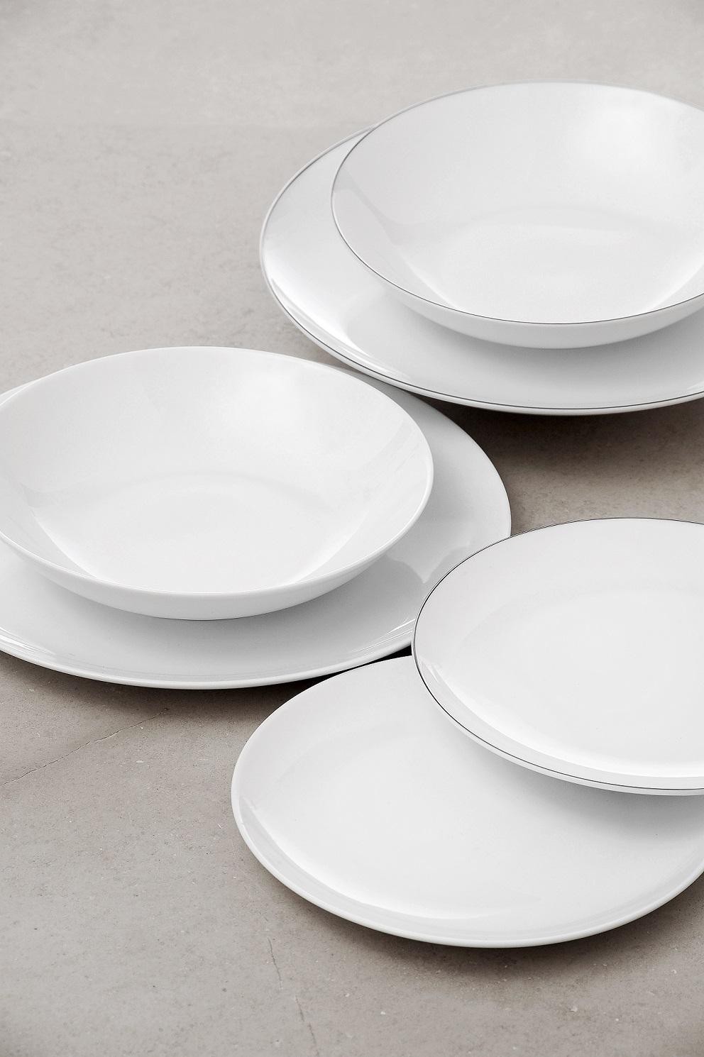 Servizio piatti 12 pezzi l abitare lucca filo platino - Servizio piatti design ...