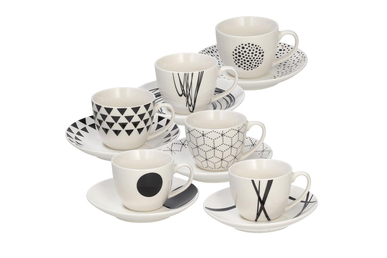 Credenza Con Tazze : Set tazzine da caffè con piattino tognana metropolis graphic