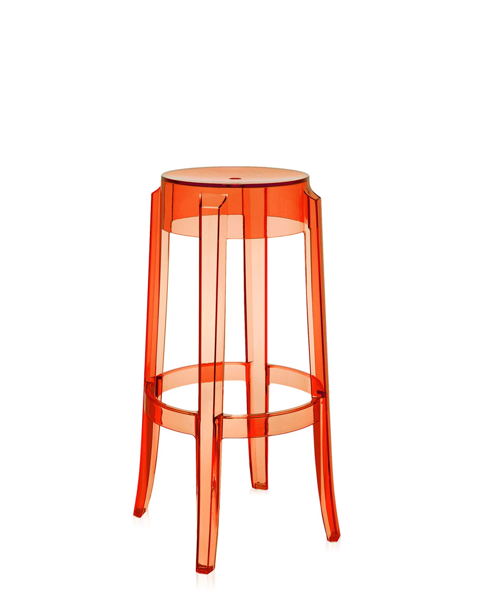 Stool Charles Ghost Orange Clear H 75 cm