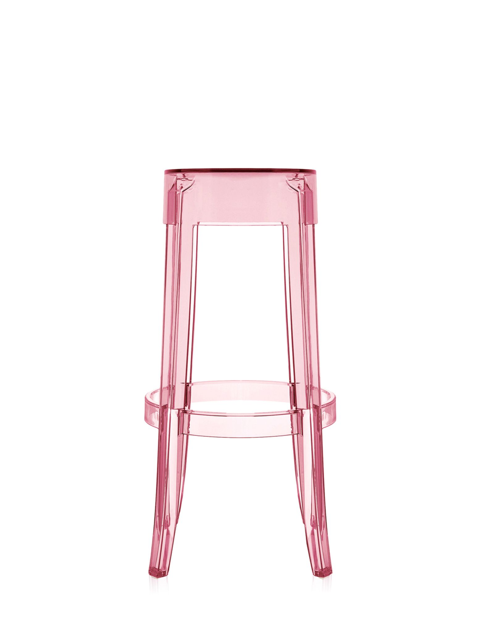 Stool Charles Ghost Pink Clear H 75 cm