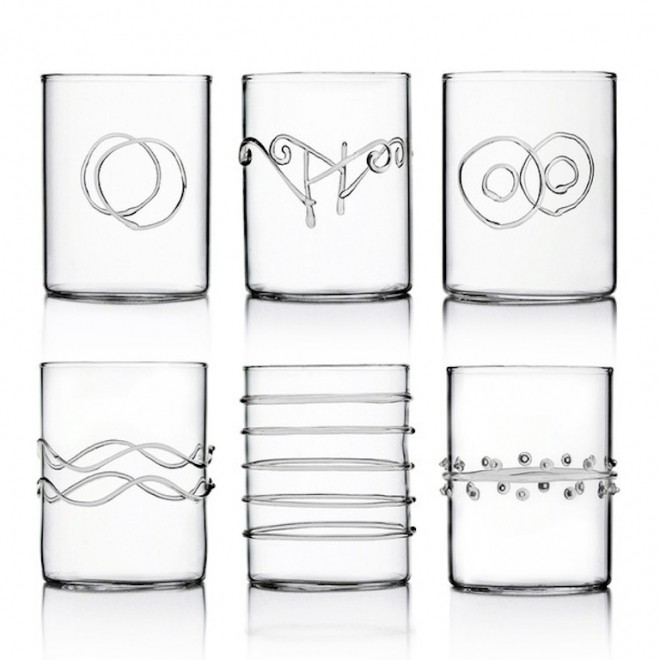 Ichendorf Deco set 6 clear glasses six different designs