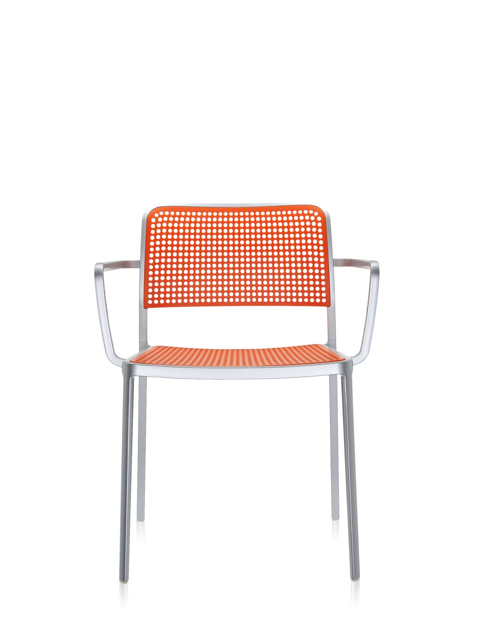 Kartell audrey arancio alluminio lucidato sedie design for Sedie alluminio design