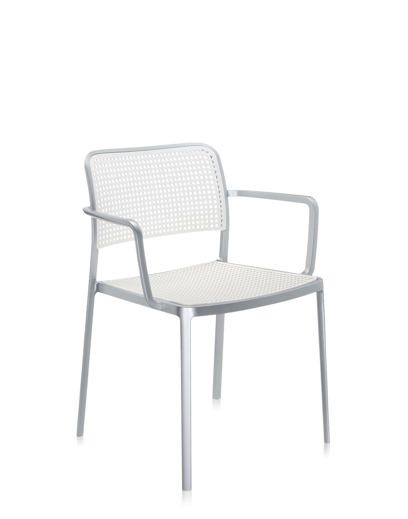 Kartell audrey bianco alluminio verniciato sedie design for Sedie alluminio design