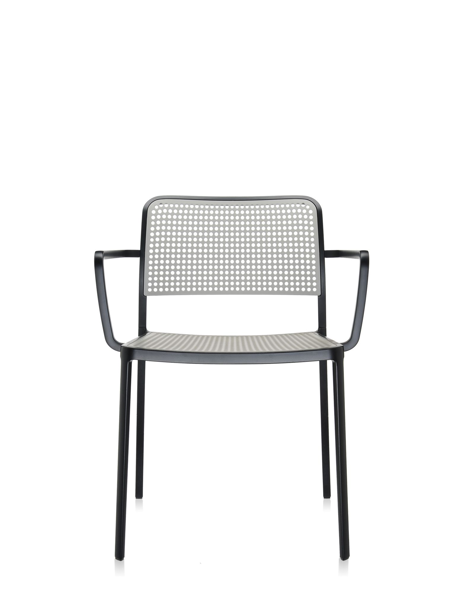 Kartell audrey grigio chiaro alluminio verniciato nero for Sedie plastica design kartell