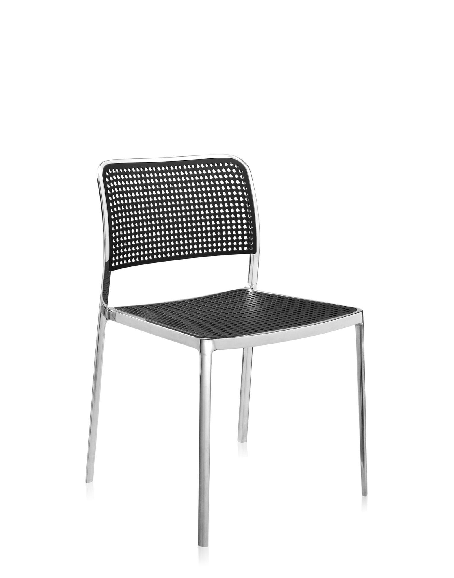Kartell audrey nero alluminio lucidato sedie design for Sedie alluminio design